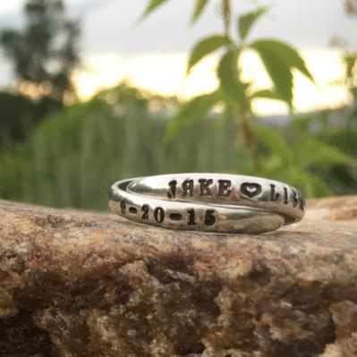 couples ring in silver stamped with name date and heart