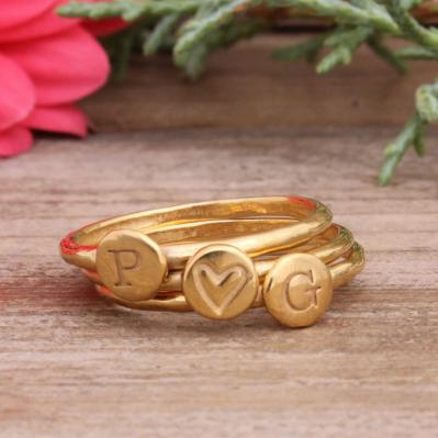 Gold initial stack ring