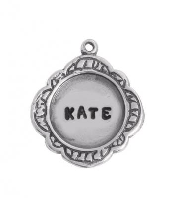 silver bordered name charm