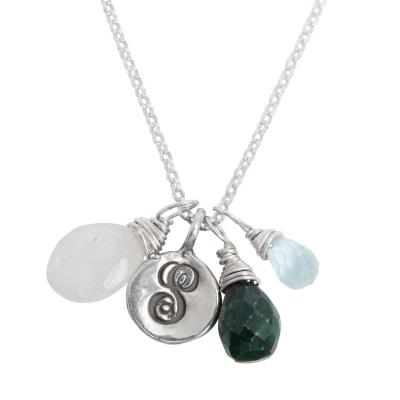 Three Children Initial and Birthstone Necklace