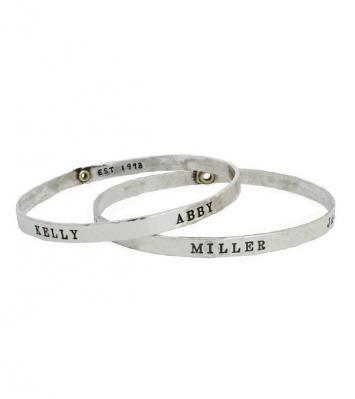 Stamped Grandmother's bangle bracelet