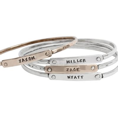 silver stack bracelet stamped set of 4