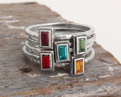 stackable family birthstone rings