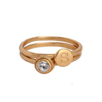 stackable birthstone rings for grandma in gold