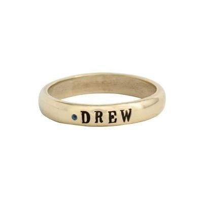 stackable birthstone name ring in gold