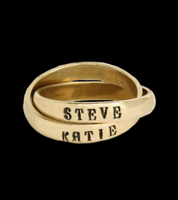Grandmothers name ring 14K gold Double