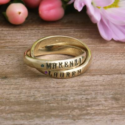 gold birthstone name ring