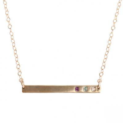 Gold Birthstone Bar Necklace, Gratitude Necklace