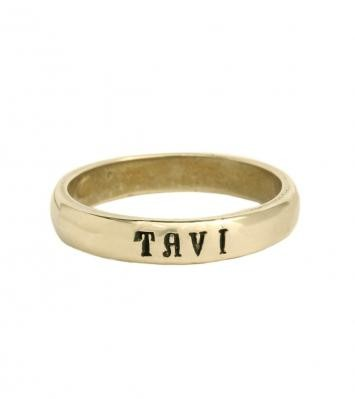 Gold Personalized Ring Band Stacked