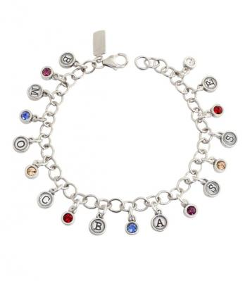 Charm Bracelet for Grandma with initials and birthstones