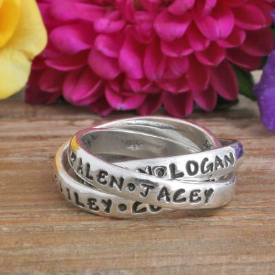 personalized moms ring for 4 kids