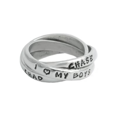 i love my boys personalized ring with names in sterling silver