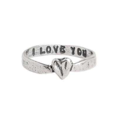 Stackable Rings, I Love You Band in silver