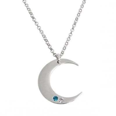 i love you to the moon back necklace with birthstones