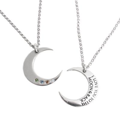 I Love you to the Moon and Back Birthstone Charm Necklace Silver