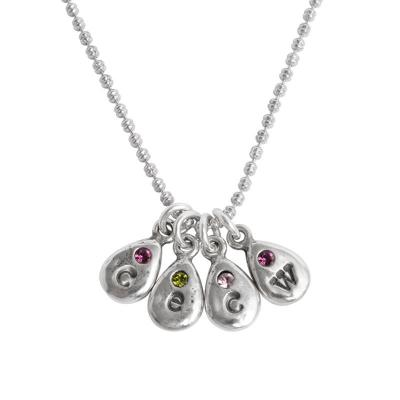 initial birthstone drop necklace for four grandchildren