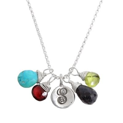 mother of four initial and birthstone charm necklace