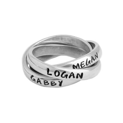 Personalized Mother's Name Ring Stamped with 3 names