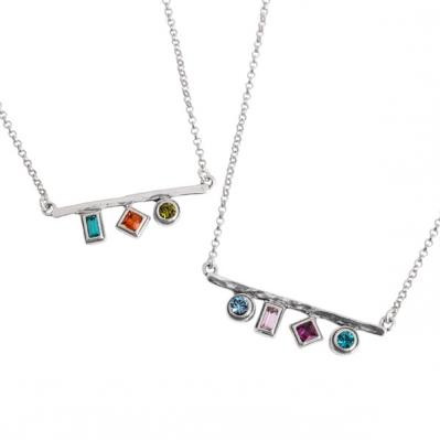 Kaleidoscope Necklace, Silver Personalized Birthstone Necklaces