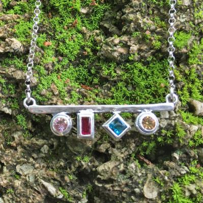 Silver Birthstone Necklace, Kaleidoscope Necklace, 3 Birthstones