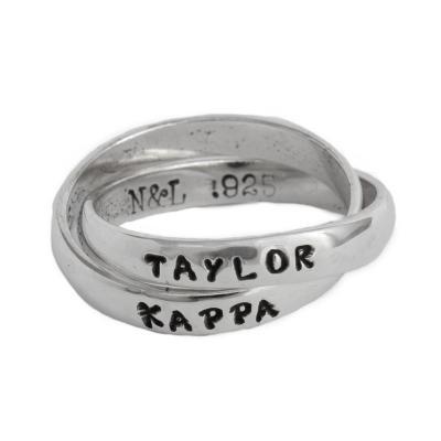 Kappa Kappa Gamma Sorority Rings, Personzalized and Hand Stamped