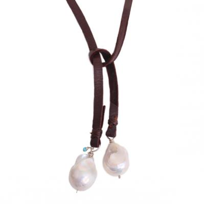 leather choker necklace with pearls