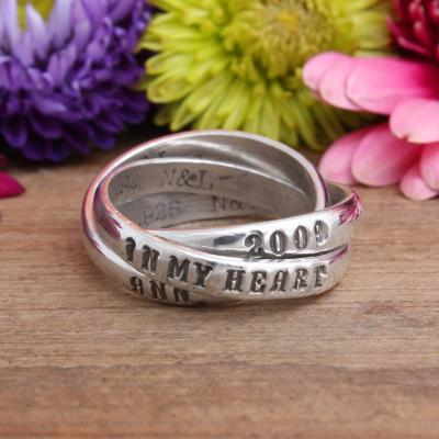 memorial name ring with date