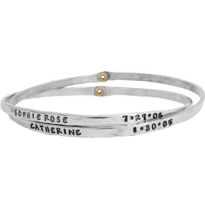 sterling bangle bracelet with names