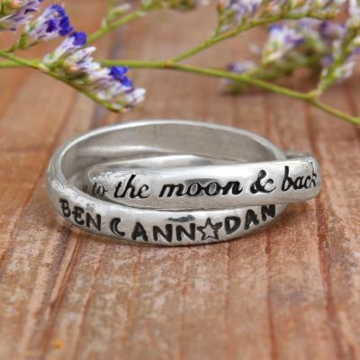 Couple's Ring with Names - To the moon and back