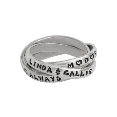 mother daughter friend rings with personalized names