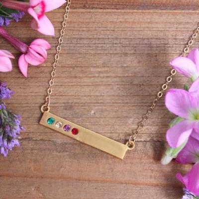 gold birthstone bar necklace