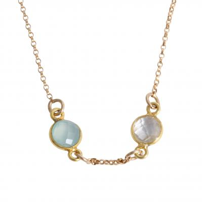 Gold birthstone necklace for mom