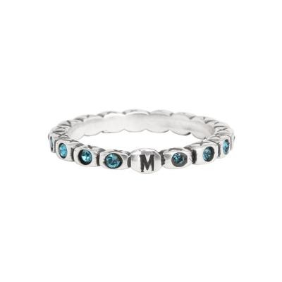 Stackable Mother's Birthstone Ring stamped with an initial