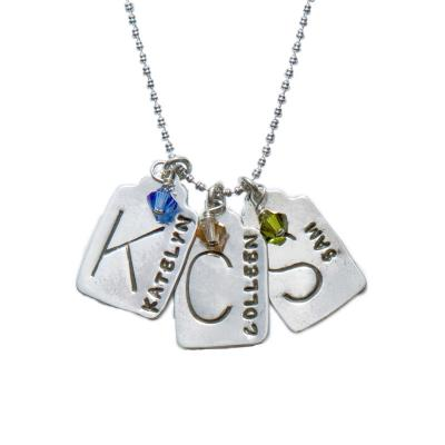 Mother's necklace with three stamped tags