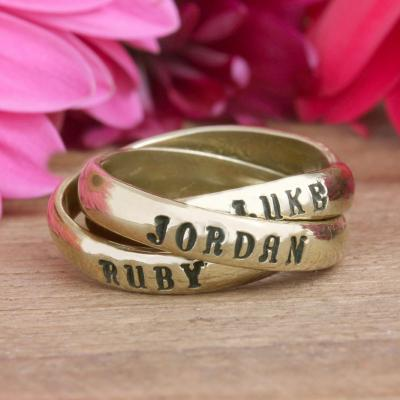 mothers gold intertwined name ring