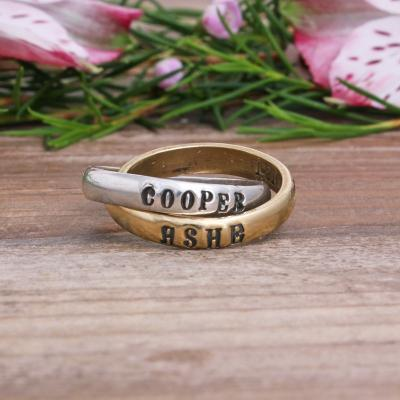 Mothers ring with names sterling and gold