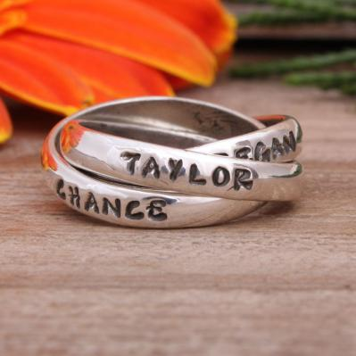 Personalized Grandmother's Name Ring Stamped with 3 names