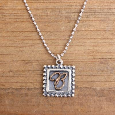 postage stamp initial necklace