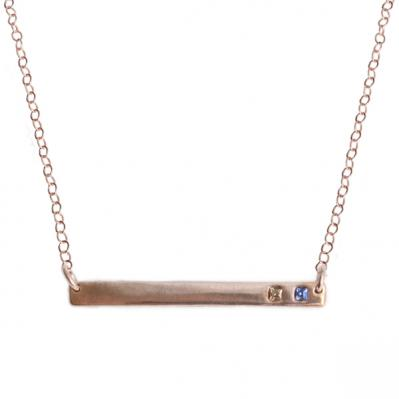 Rose Gold Birthstone Bar Necklace, Gratitude Necklace