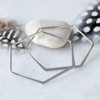 silver hex earrings