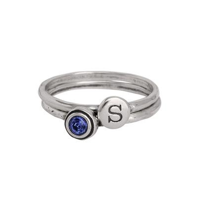 Stackable grandmother birthstone initial rings