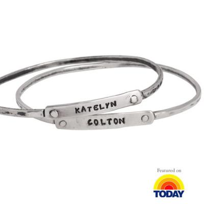 Mothers stackable silver bracelets