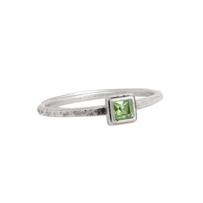 birthstone square silver ring