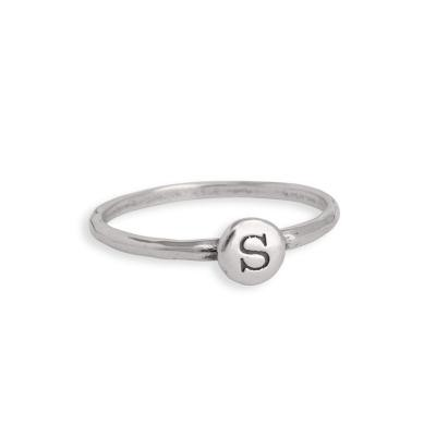 Stackable Initial ring in sterling