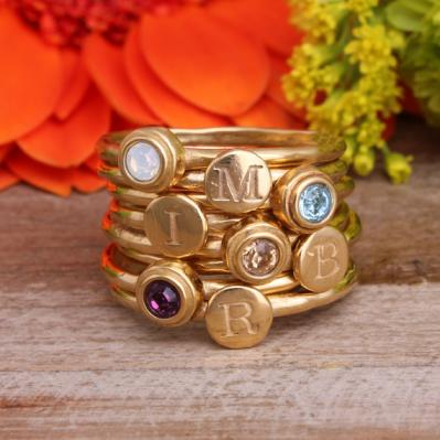 gold stacking birthstone and initial rings