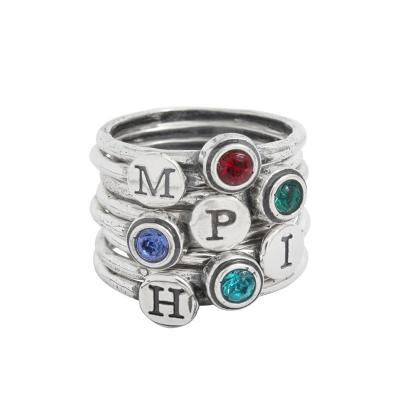 Mother's stackable rings with initials and birthstones