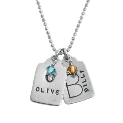 Mothers necklace with two customized charms