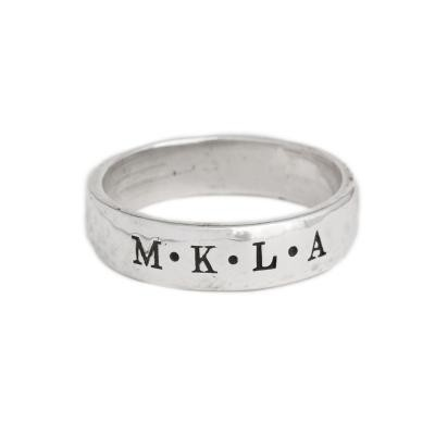Men's Ring stamped with children's initials in silver by Nelle and Lizzy