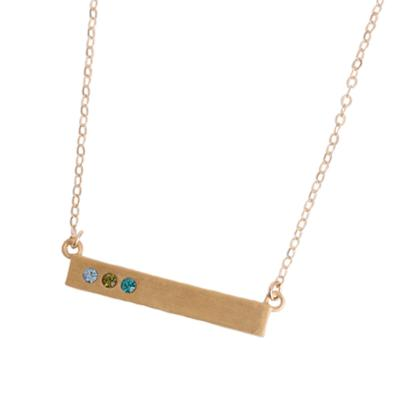 3 stone Birthstone Bar Mother's Necklace