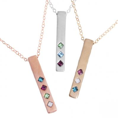 Birthstone Bar Necklace, Family Totem